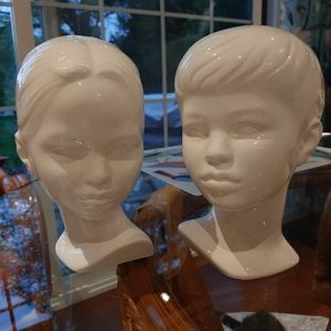 Cool ceramic girl and boy busts